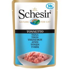 Schesir CAT TUNA - пауч для взрослых кошек Тунец, упаковка 30 штук по 50г