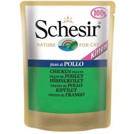 Schesir KITTEN CHICKEN FILLETS - пауч для котят Куриное филе, упаковка 20 штук по 100г