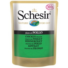 Schesir CAT CHICKEN FILLETS - пауч для взрослых кошек Куриное филе, 100г