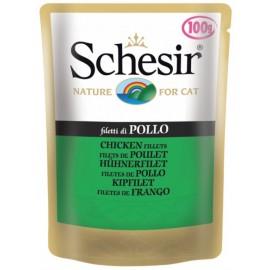 Schesir CAT CHICKEN FILLETS - пауч для взрослых кошек Куриное филе, упаковка 20 штук по 100г