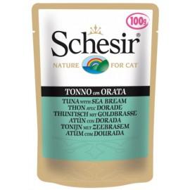 Schesir CAT TUNA WITH SEA BREAM - пауч для взрослых кошек Тунец с Дорадо, 100г