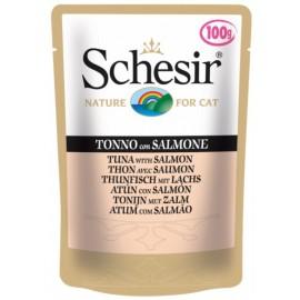 Schesir CAT TUNA WITH SALMON - пауч для взрослых кошек Тунец с Лососем, упаковка 20 штук по 100г