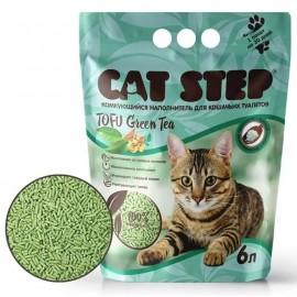 Cat Step Tofu Green Tea - растительный комкующийся наполнитель для кошек, 6л