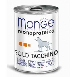 Monge Dog Solo Turkey - монопротеиновый консервированный корм для собак с индейкой, 400гр