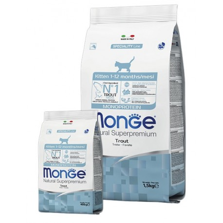 Monge Natural Superpremium Monoprotein Kitten Trout - сухой монобелковый корм для котят с форелью