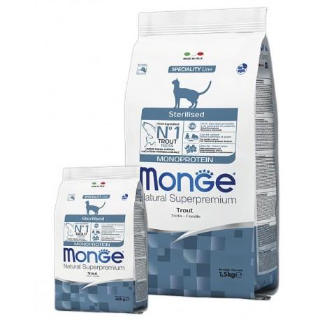 Monge Natural Superpremium Monoprotein Trout Sterilised - сухой монобелковый корм для стерилизованных кошек с форелью