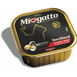 MioGatto Sterilized Beef and Vegetable - для стерилизованных кошек с говядиной и овощ., без злаков (упаковка 16 штук по 100г)