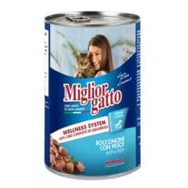 Miglior gatto Fish - консерва для кошек, кусочки с рыбой в соусе, 405г