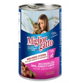 Miglior gatto Tripe/Lamb/Carrots - консерва для кошек, кусочки с рубцом, ягнёнком и морковью в соусе, 405г