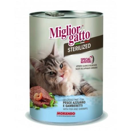 Miglior Gatto Steril - консерва для стерилизованных кошек с паштет с рыбой и креветками, 400г