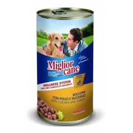 Miglior cane Сhicken/Turkey - консерва для собак, кусочки с курицей и индейкой, 1250г