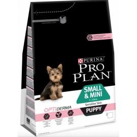 Pro Plan OptiDerma Small & Mini Puppy Sensitive Skin - для щенков мелких пород с чувствительной кожей (лосось и рис)