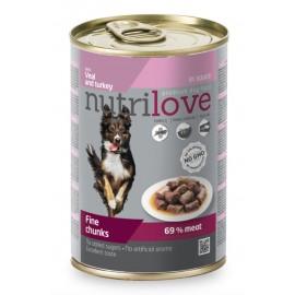 Nutrilove Chunks Dog Veal/Turkey in Gravy - кусочки с телятиной и индейкой в соусе (упаковка 12 штук по 415г)
