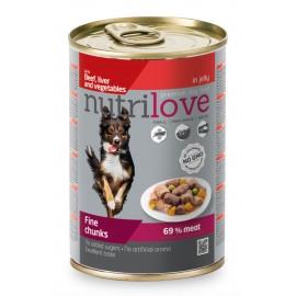 Nutrilove Chunks Dog Beef/Liver/Veg in Jelly - кусочки с говядиной, печенью и овощами в желе (упаковка 12 штук по 405г)