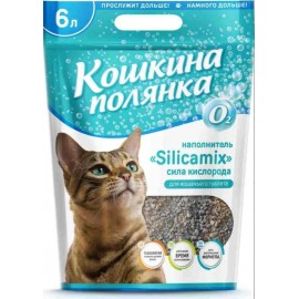 """Наполнитель для кошачьего туалета """"Кошкина Полянка"""" """"Silicamix Сила кислорода"""" впитывающий, 6л"""