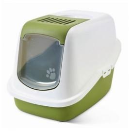 "02270WTG Туалет-домик ""SAVIC"" ""Nestor"" для кошек, 56 x 39 x 38.5 см, белый/зеленый, пластик"