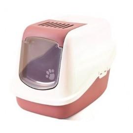 """022700WAR Туалет-домик """"SAVIC"""" """"Nestor"""" для кошек, 56 x 39 x 38.5 см, белый/нежно-розовый, пластик"""