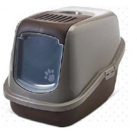 "022700WC Туалет-домик ""SAVIC"" ""Nestor"" для кошек, 56 x 39 x 38.5 см,серый/шоколадный, пластик"
