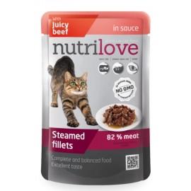 Nutrilove Pouch Cat Beef in Gravy - паучи для кошек, кусочки в соусе с говядиной 82% (28 штук по 85г)