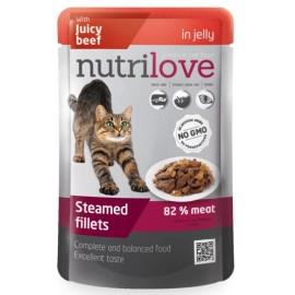 Nutrilove Pouch Cat Beef in Jelly - паучи для кошек, кусочки в желе с говядиной 82% (28 штук по 85г)