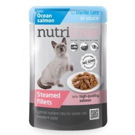 Nutrilove Pouch Cat Sterile Salmon - паучи для кошек, кусочки в желе для стерелизованных с лососем 74% (28 штук по 85г)
