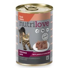 Nutrilove Pate Cat Duck - консерва для кошек, паштет из утки 100% (12 штук по 400г)