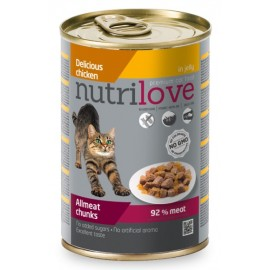 Nutrilove Chunks Cat chicken in jelly - консерва для кошек, кусочки в желе с курицей 92% (12 штук по 400г)