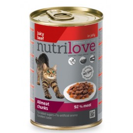 Nutrilove Chunks Cat Beef in jelly - консерва для кошек, кусочки в желе с говядиной 92% (12 штук по 400г)