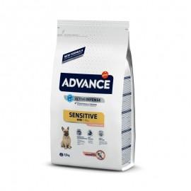 Advance Mini Adult Sensitive - cухой корм для собак мелких пород с чувствительным пищеварением, лосось и рис