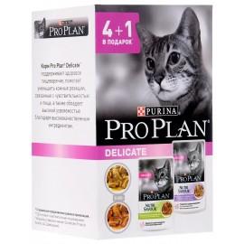 Пресервы Pro Plan NUTRI SAVOUR Delicate - для кошек с чувствительным пищеварением с индейкой и ягненком, 4+1 в подарок