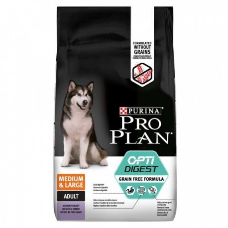 Pro Plan OptiDigest Medium/Maxi Grain Free Formula - беззерновой корм для собак средних и крупных пород с чувст. пищ. (индейка)