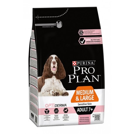 Pro Plan OptiDerma Medium & Large Adult 7+ Sensitive Skin - для собак старше 7 лет сред.и крупных пород с чувст. кожей (лосось)