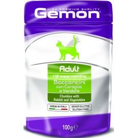 Gemon Cat Adult Bocconcini with Rabbit/Vegetables - пресервы для кошек, кусочки с кроликом и овощами, 100г