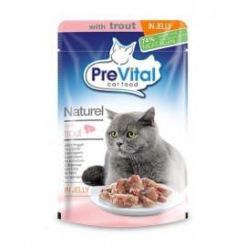 PreVital Naturel for Cats - паучи для кошек с форелью в желе, упаковка 28 штук по 85г