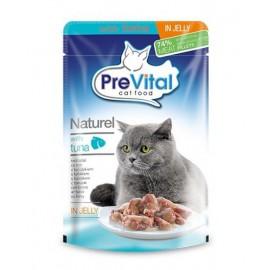 PreVital Naturel for Cats - паучи для кошек с тунцом в желе, упаковка 28 штук по 85г