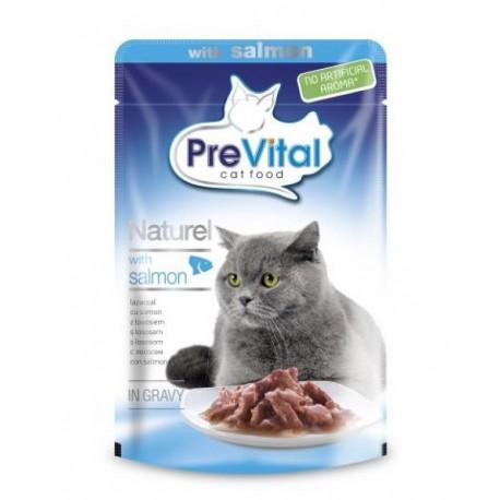 PreVital Naturel for Cats - паучи для кошек с лососем в соусе, упаковка 28 штук по 85г