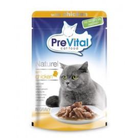 PreVital Naturel for Cats - паучи для кошек с курицей в соусе, упаковка 28 штук по 85г