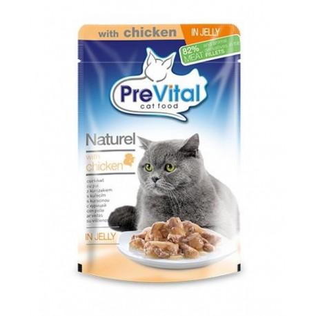 PreVital Naturel for Cats - паучи для кошек с курицей в желе, упаковка 28 штук по 85г