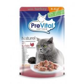 PreVital Naturel for Cats - паучи для кошек с индейкой в желе, упаковка 28 штук по 85г