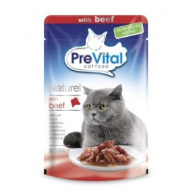 PreVital Naturel for Cats - паучи для кошек с говядиной в соусе, упаковка 28 штук по 85г