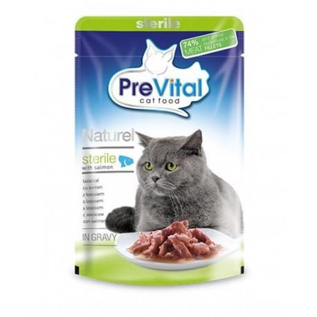 PreVital Naturel for Cats - паучи для cтерилизованных кошек с лососем в соусе, упаковка 28 штук по 85г