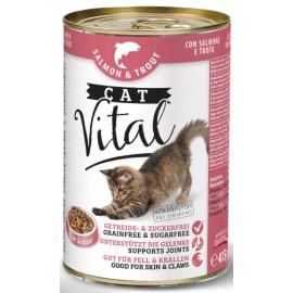 CAT Vital - полнорационный консервированный корм для кошек, с лососем и форелью, упаковка 12 штук по 415г