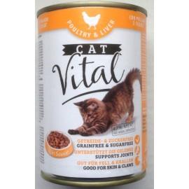 CAT Vital - полнорационный консервированный корм для кошек, с домашней птицей и печенью, упаковка 12 штук по 415г