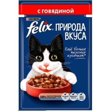 FELIX Nature of Taste - аппетитные кусочки в соусе с говядиной (упаковка 24 штуки по 85г)