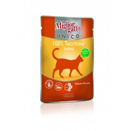 MC Miglior Gatto UNICO TURKEY - паучи для кошек с индейкой (упаковка 48 штук по 85г)