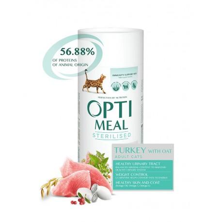 Optimeal Adult Cats Sterilised Turkey with Oat - сухой корм для стерилизованных кошек с индейкой и овсом