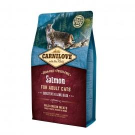 Carnilove Salmon Sensitive & Long Hair Cats - беззерновой корм для кошек с чувствительным пищеварением и длинной шерстью, лосось