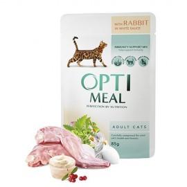 Optimeal с кроликом в белом соусе - консервированный корм для взрослых кошек, 85г (упаковка 12шт))