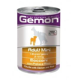 Gemon Dog Mini Adult Chicken & Turkey - консервы для собак мелких пород кусочки курица и индейка, 6 штук по 415г