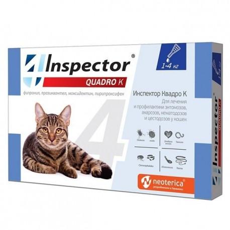 I30 Inspector Quadro Капли от внешних и внутренних паразитов для кошек (до 4кг), 1 пипетка